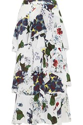 Erdem Simone Tiered Floral Print Silk Crepe De Chine Skirt White Blue
