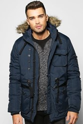 Boohoo Hooded Parka With Ma1 Shoulder Navy
