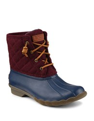 Sperry Saltwater Quilted Duck Boots Navy Maroon