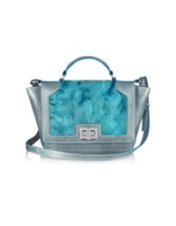 Leonardo Delfuoco Blue Sheepskin And Gray Leather Ipad Bag