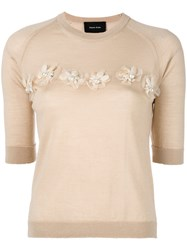 Simone Rocha Embellished Detail Short Sleeve Knit Top Nude Neutrals