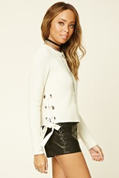 Forever 21 Lace Up Crew Sweater