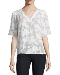 Rebecca Taylor Short Sleeve Magnolia Sheer V Neck Top Chalk