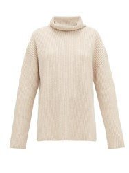 Joseph Brioche Stitched Cashmere Roll Neck Sweater Light Beige