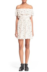 Women's The Kooples Tattoo Print Off The Shoulder Dress Nude