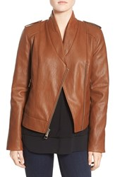 Guess Women's Faux Leather Moto Jacket Cognac