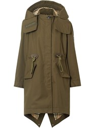 Burberry Detachable Hood Parka Green