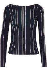 Theory Striped Ribbed Stretch Knit Top Midnight Blue