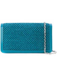 Casadei Woven Shoulder Bag Women Paper Polyamide Satin Kid Leather One Size Blue