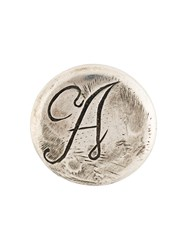 Ann Demeulemeester Blanche Initial Engraved Pin Badge Silver Metallic
