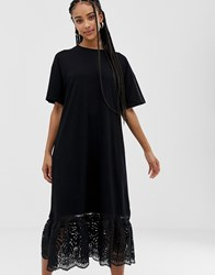 Amy Lynn Short Sleeve Shift Dress With Lace Detail Black