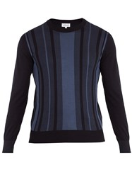 Brioni Crew Neck Striped Cotton And Silk Blend Sweater Navy