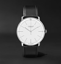 Junghans Max Bill Automatic 38Mm Stainless Steel And Leather Watch Black