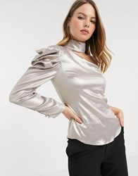 River Island Cut Out Blouse With Puff Sleeve In Gold