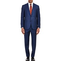 Barneys New York Men's Two Button Lotus Suit Navy
