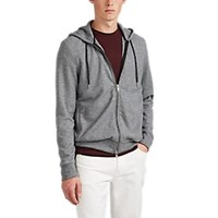 Theory Waffle Knit Zip Front Hoodie Gray