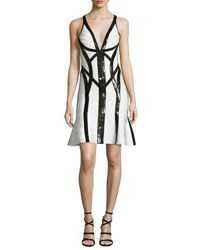 Herve Leger Sequined Sleeveless V Neck Bandage Dress Black White Black White