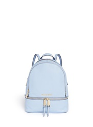 Michael Kors 'Rhea' Small 18K Gold Plated Leather Backpack Blue