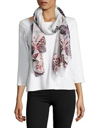 Lord And Taylor Butterfly Printed Scarf White