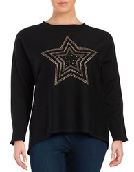 Marc New York Long Sleeve Crewneck Embellished Hi Lo Top Black