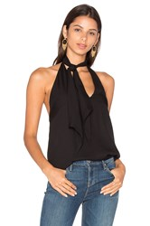 Haute Hippie Neck Scarf Halter Top Black