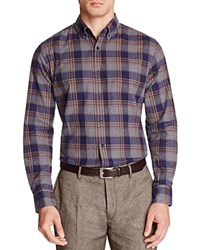 Hardy Amies Flannel Plaid Slim Fit Button Down Shirt Navy Camel