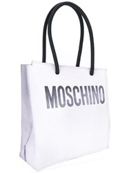 Moschino Shopper Illusion Clutch Bag Women Leather One Size White