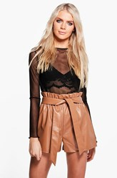Boohoo Paper Bag Waist Leather Look Shorts Tan