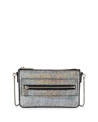 Milly Delano Iridescent Crackled Crossbody Bag Silver