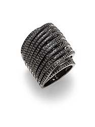 Noir Slip On Faceted Crystal Ring Black