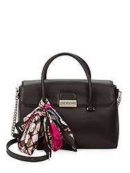 Love Moschino Faux Leather Flap Satchel Black