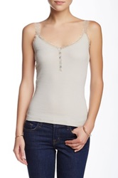 Silver Jeans Lace Tank Gray