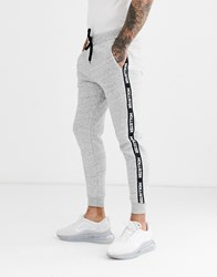 Hollister Slim Fit Cuffed Joggers In Grey With Side Sleeve Taping