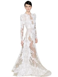 Zuhair Murad Floral Embellished Tulle And Crepe Gown