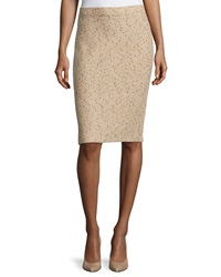 St. John Tweed Pencil Skirt Camel Melange Black Cream