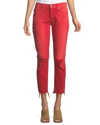 Hudson Riley Relaxed Straight Leg Crop Jeans W Raw Hem Red