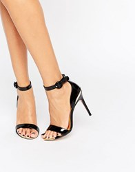 Ted Baker Rynne Patent Barely There Heeled Sandals Black Patent Leather