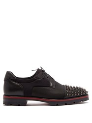 Christian Louboutin Luis Spike Embellished Neoprene Derby Shoes Black