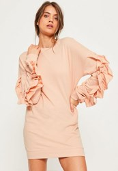 Missguided Pink Frill Sleeve Jumper Dress