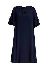 See By Chloe Ruffled Sleeve Tie Neck Silk Dress Navy