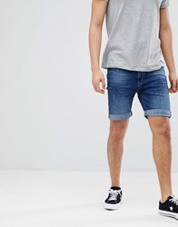 Pier One Denim Shorts In Dark Blue Dark Blue