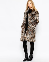Urbancode Longline Fur Jacket In Leopard Shadow Leopardshadow