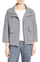 Nordstrom Women's Collection Check Funnel Neck Swing Jacket