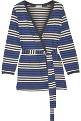 Skin Bianca Striped Cotton Jersey Robe Blue
