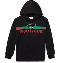 Gucci Logo Print Loopback Cotton Jersey Hoodie Black