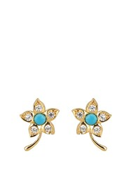 Theodora Warre Zircon Turquoise And Gold Plated Earrings Blue