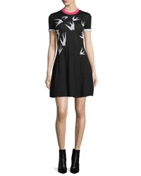 Mcq By Alexander Mcqueen Short Sleeve Jacquard Skater Dress Black White