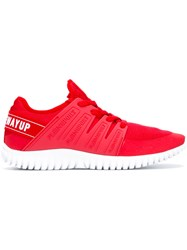 Plein Sport Lace Up Sneakers Red