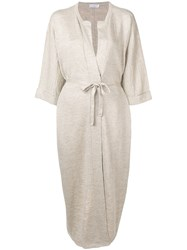 Brunello Cucinelli Belted Midi Dress Neutrals