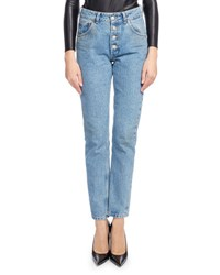 Balenciaga High Waist Button Fly Denim Cigarette Jeans Blue